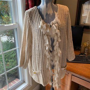 Chico's fringe open front cardigan sweater